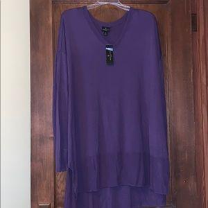 NWT long-sleeves purple tunic length sweater 2x